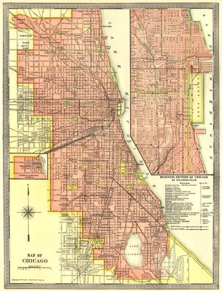 Associate Product CHICAGO town/city plan. Downtown Loop. Illinois 1907 old antique map chart