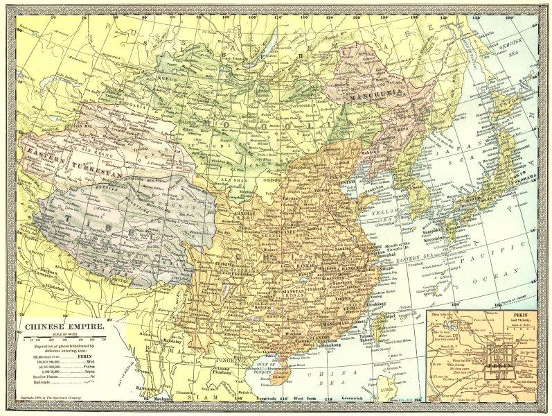 Associate Product CHINESE EMPIRE. Manchuria Eastern Turkestan Tibet. Peking/Beijing inset 1907 map
