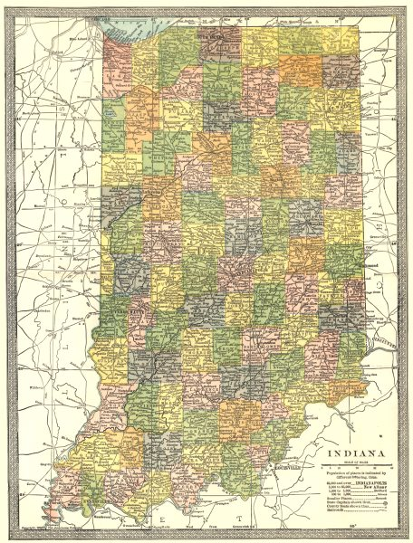 Associate Product INDIANA state map. Counties 1907 old antique vintage plan chart