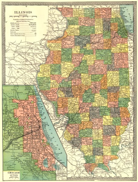 Associate Product ILLINOIS state map. Counties. CHICAGO & environs 1907 old antique chart