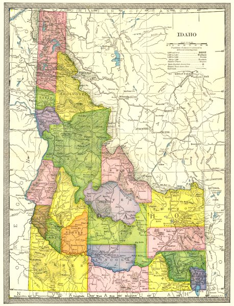 Associate Product IDAHO state map. Counties 1907 old antique vintage plan chart