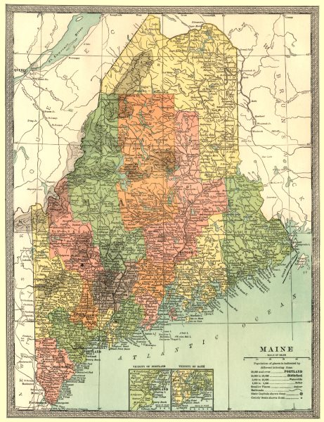 MAINE state map. Counties. Portland & Bath insets 1907 old antique chart
