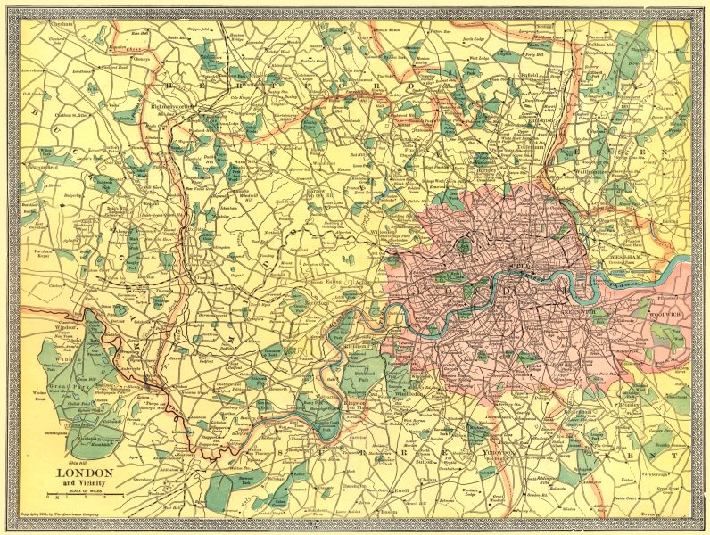 Associate Product LONDON & THAMES VALLEY. Home counties. Canals 1907 old antique map plan chart