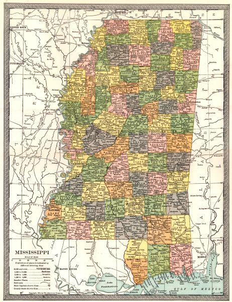 Associate Product MISSISSIPPI state map. Counties 1907 old antique vintage plan chart