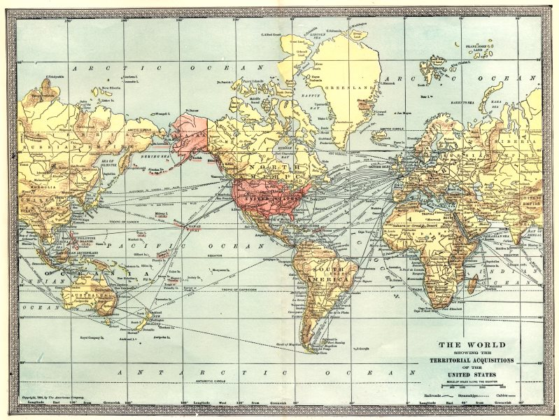 Associate Product The World showing United States territorial acquisitions. Philippines 1907 map