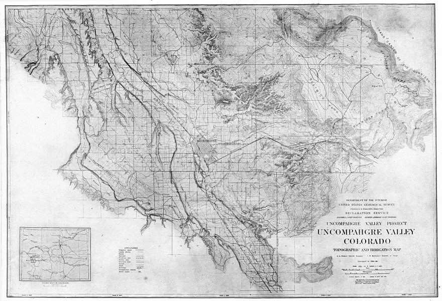 Associate Product Uncompahgre Valley Colorado Topographic and Irrigation Map 1907 old