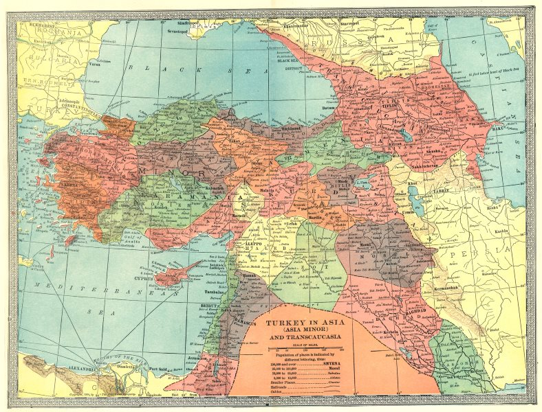 Associate Product TURKEY IN ASIA. Transcaucasia Levant Georgia Syria Iraq Azerbaijan 1907 map