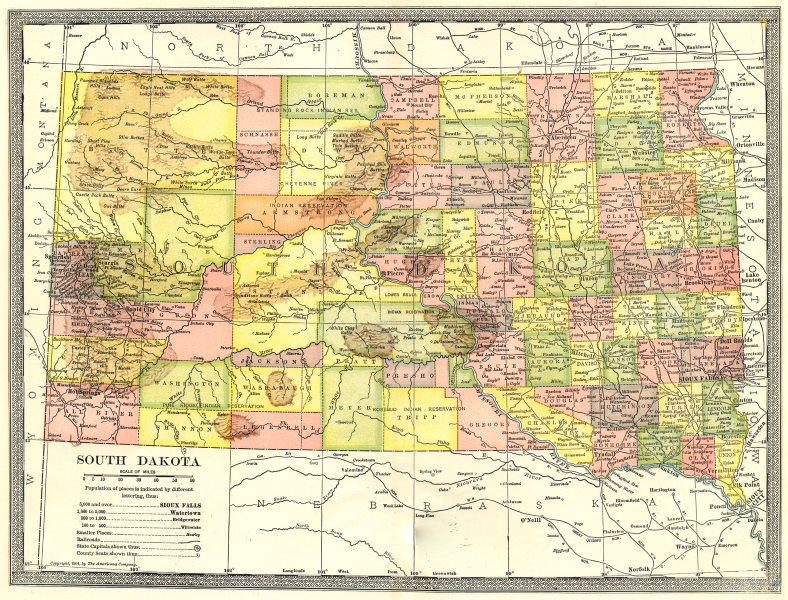 Associate Product SOUTH DAKOTA state map. Counties 1907 old antique vintage plan chart