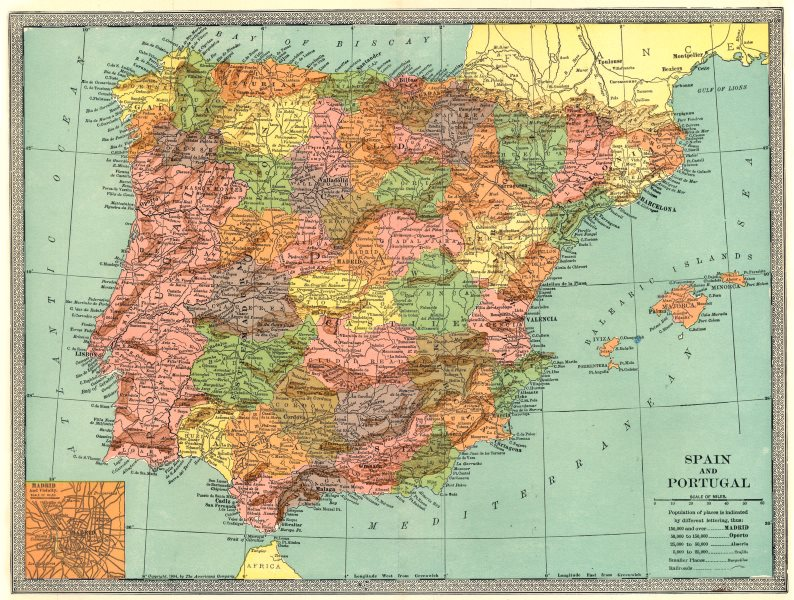 Associate Product IBERIA. Spain and Portugal. Inset Madrid 1907 old antique map plan chart