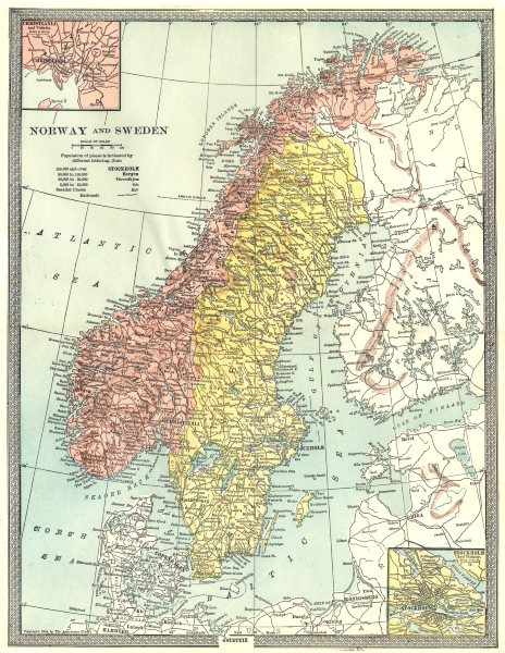 Associate Product SCANDINAVIA. Norway and Sweden. Inset Stockholm & Christiania 1907 old map