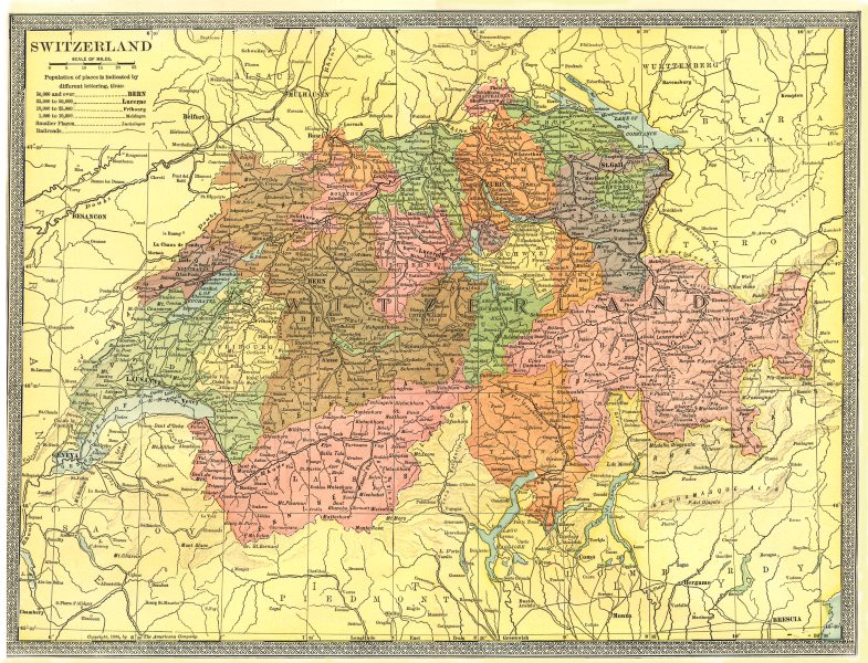SWITZERLAND showing cantons 1907 old antique vintage map plan chart ...