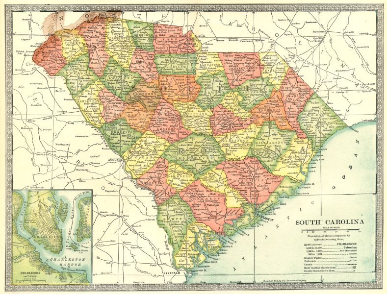 Associate Product SOUTH CAROLINA state map. Counties. Charleston harbour & environs 1907 old