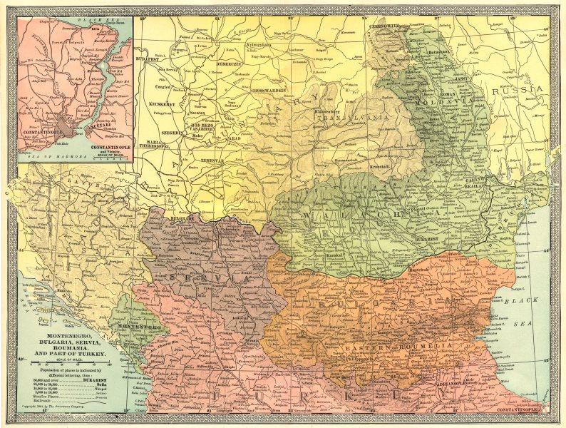 Associate Product BALKANS. Montenegro Bulgaria Servia Roumania Wallachia Moldavia 1907 map
