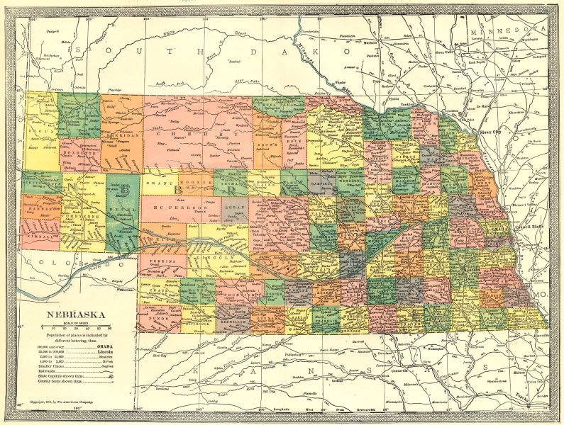 Associate Product NEBRASKA state map. Counties 1907 old antique vintage plan chart