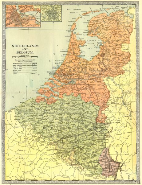Associate Product NETHERLANDS BELGIUM & LUXEMBOURG. Amsterdam & Brussels inset 1907 old map