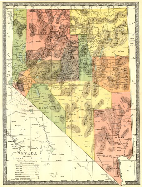 Associate Product NEVADA state map. Counties 1907 old antique vintage plan chart