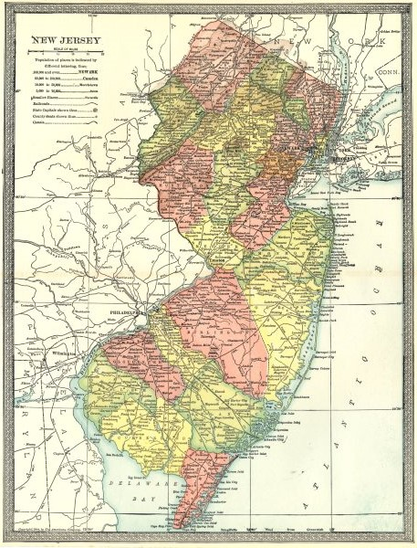 Associate Product NEW JERSEY state map. Counties 1907 old antique vintage plan chart