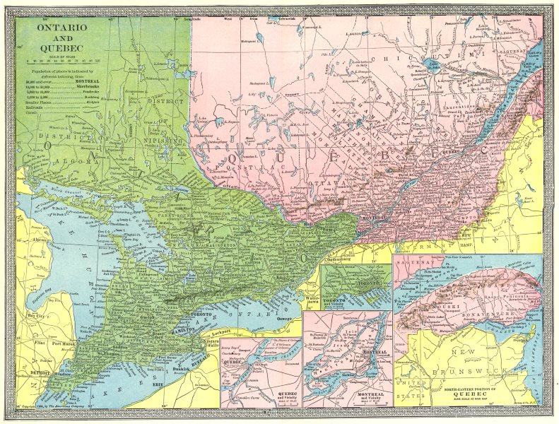 Associate Product ONTARIO & QUEBEC. Toronto Quebec City & Montreal environs plans 1907 old map