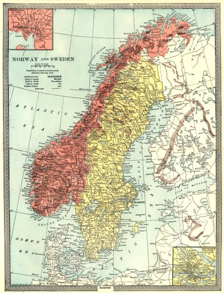 Associate Product SCANDINAVIA. Norway and Sweden. Inset Stockholm & Christiania (Oslo) 1907 map