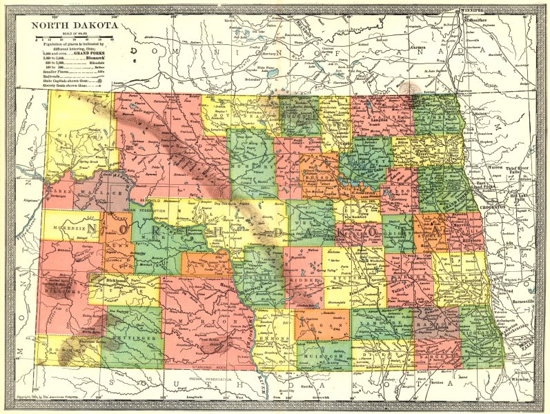 Associate Product NORTH DAKOTA state map. Counties 1907 old antique vintage plan chart