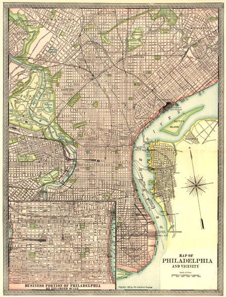 Associate Product PHILADELPHIA town/city plan. Inset CBD. Pennsylvania 1907 old antique map