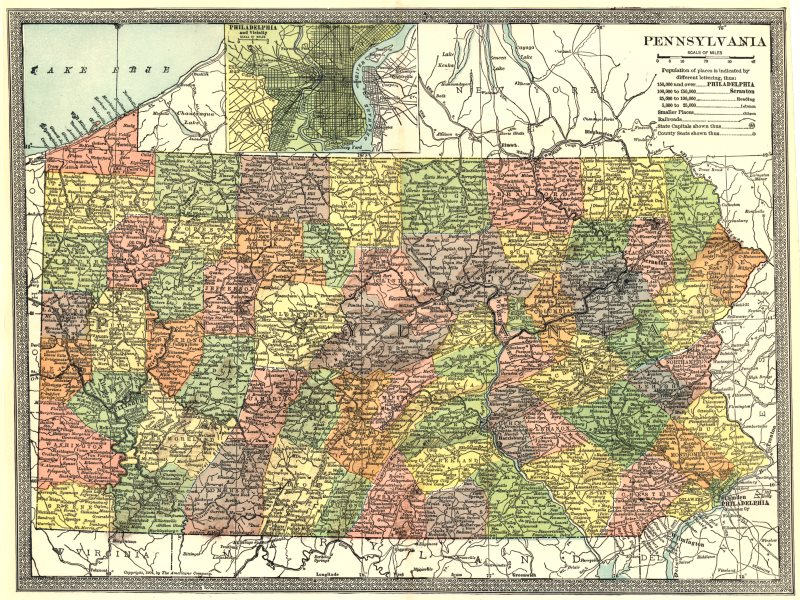 PENNSYLVANIA state map. Counties. Philadelphia environs 1907 old antique