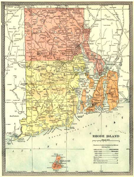 Associate Product RHODE ISLAND state map. Counties. Block Island 1907 old antique plan chart