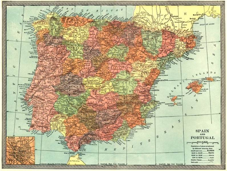 Associate Product IBERIA. Spain and Portugal. Inset Madrid plan 1907 old antique map chart