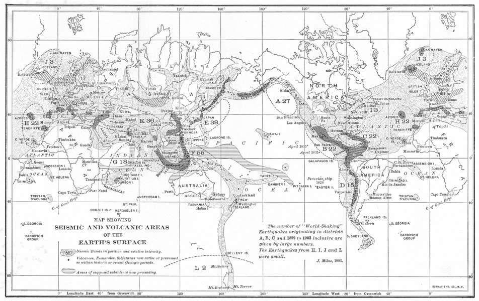 Map showing Seismic and Volcanic areas of the Earth's surface 1907 old