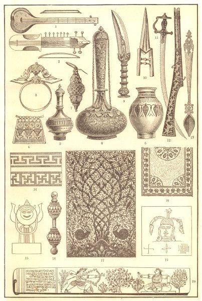Associate Product INDIAN ART. Music Pendant Spearhead Dagger Khuttar Matchlock Jagganath 1907