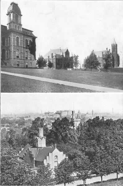 NEW YORK. 1 Syracuse University; 2 1907 old antique vintage print picture