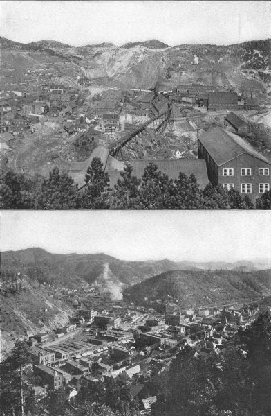 Associate Product SOUTH DAKOTA. 1 famous homestake mine, Lead city; 2 Deadwood 1907 old print