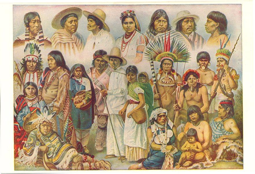 Associate Product AMERICA.Ipurina Bellacoola Zapoteca Bororo Caraja Botocudo Umaua Araucania 1907
