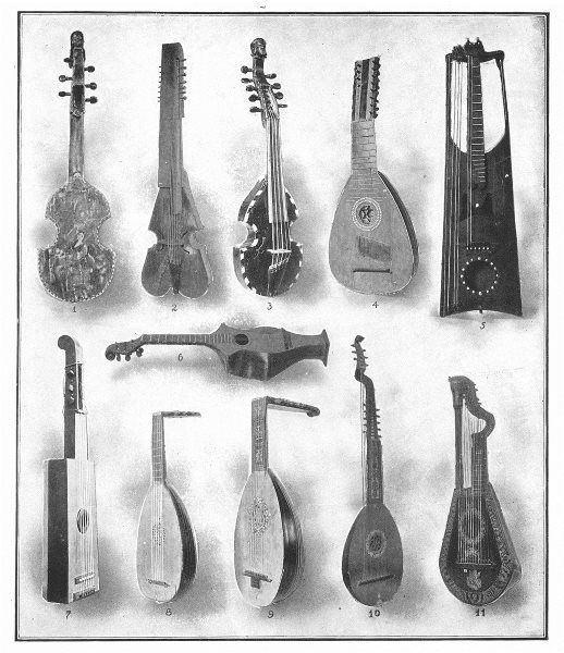 Associate Product FRANCE. Alto viol Baryton Pochette Amour Mandora guitar Harp Lute Theorbo 1907