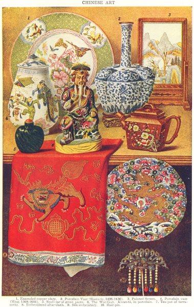 Associate Product CHINA. Porcelain vase Ming Snuff-jar Green paste Kwan-ti terracotta Silk 1907