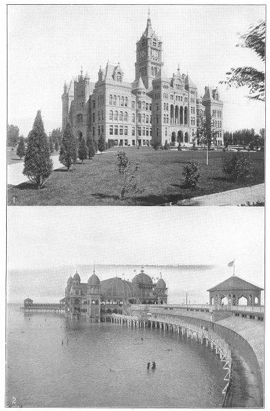 Associate Product UTAH. Salt Lake City; 1. City & Co building; 2. Saltair Beach & Pavilion 1907