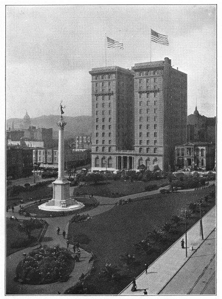 Associate Product CALIFORNIA. San Francisco; Union Square 1907 old antique vintage print picture