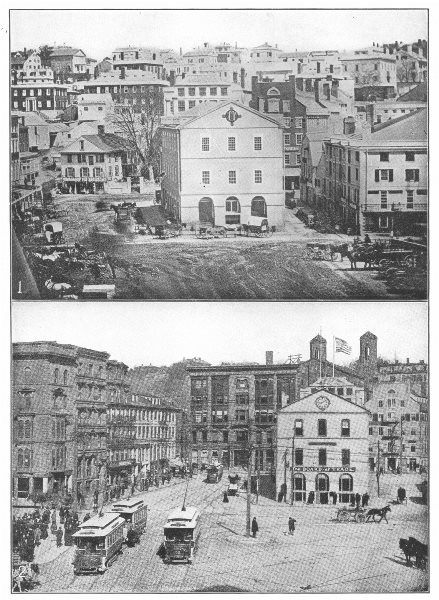 Associate Product RHODE ISLAND. Providence; 1 Market Sq, 1844; 2 Square1903 1907 old print