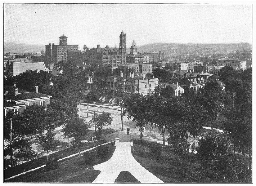 Associate Product NEBRASKA. Omaha; View of city from high school building 1907 old antique print