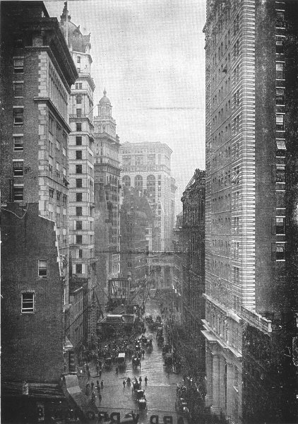 Associate Product NEW YORK. Looking North on Broad street, New York 1907 old antique print