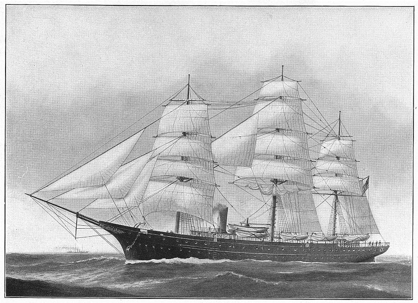 Associate Product RHODE ISLAND. Training ship Young America; naval school of state 1907 print