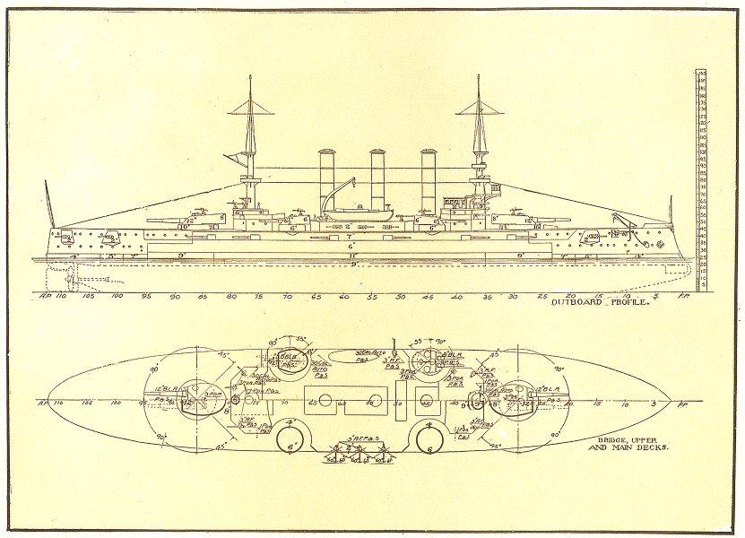 Associate Product USA. Naval architecture; US battleship Connecticut 1907 old antique print