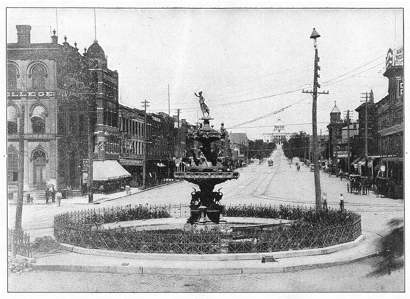 Associate Product ALABAMA. Court Square and Dexter avenue, Montgomery, Ala 1907 old print