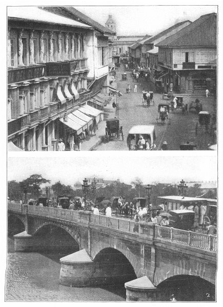 Associate Product SPAIN. Manila; 1 La Escolta; 2 The bridge of Spain 1907 old antique print