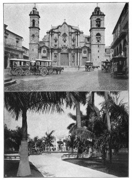 Associate Product CUBA. Havana; 1. Cathedral of Havana; 2. Colon Park, Havana 1907 old print