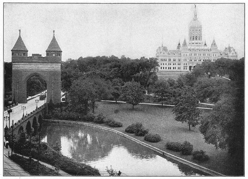 Associate Product HARTFORD. State Capitol troops Sailors Memorial bridge Arch, Bushnell Park 1907