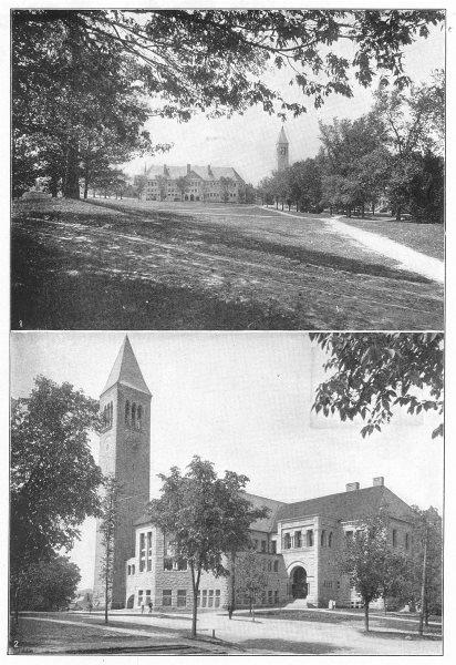 Associate Product NEW YORK. Cornell University; 1 Boardman Hall; 2 Library building 1907 print