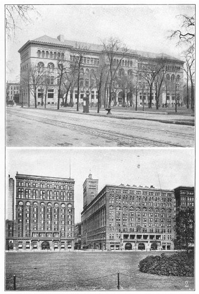 Associate Product ILLINOIS. Chicago; 1 Newberry Library; 2 Auditorium & Annex 1907 old print