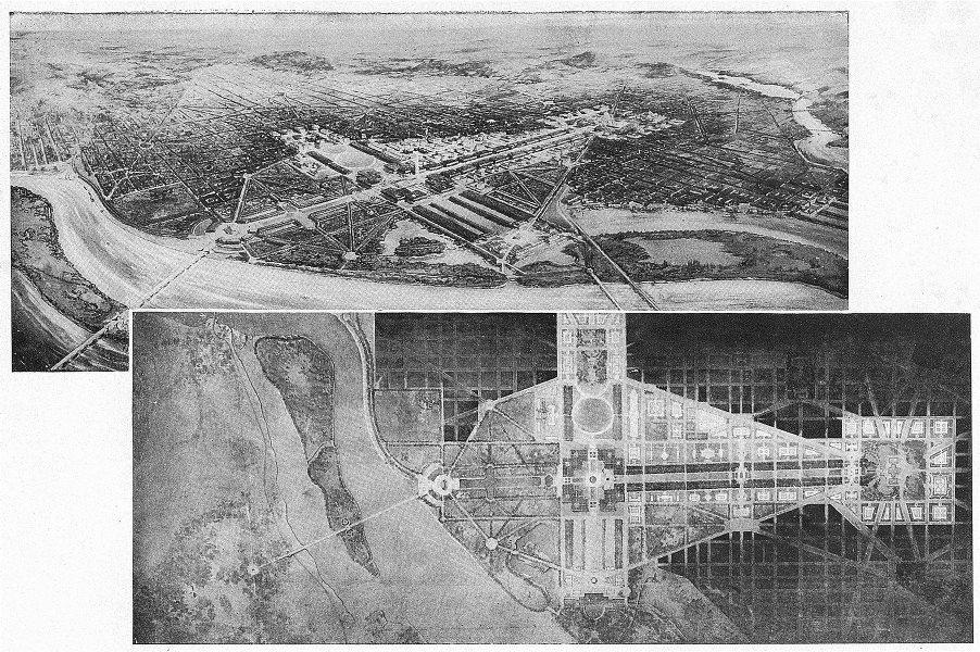 Associate Product WASHINGTON DC. City making; plan & Bird's-Eye a Planned arrangement 1907 print