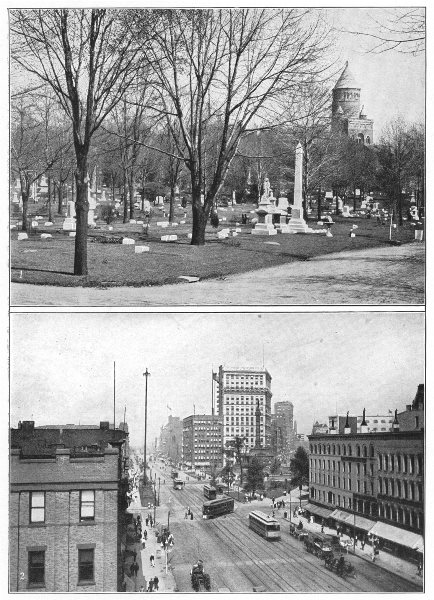 Associate Product OHIO. Cleveland; Lakeview Cemetery, Garfield monument; Superior Street 1907